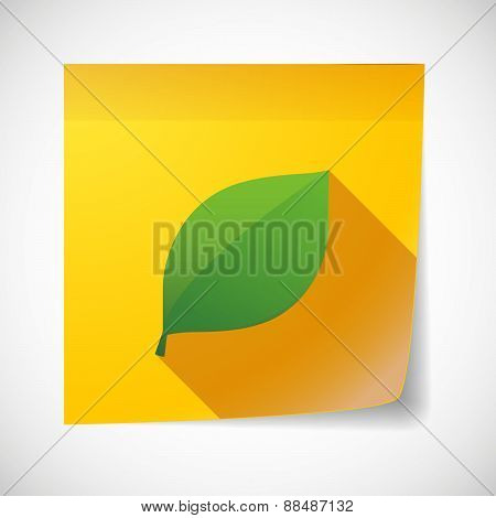 Sticky Note Icon With A Leaf