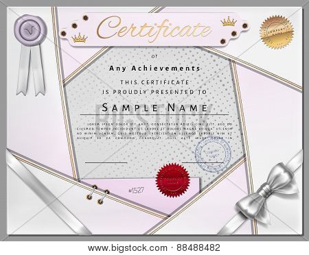 Vintage Certificate Template With White Border And Golden Elements On Dotted Paper In Vector