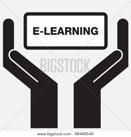 Hand showing e-learning sign icon.