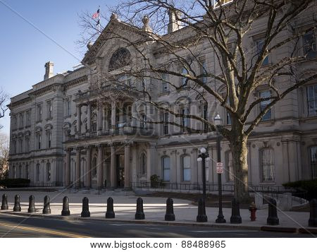 TRENTON, NJ - APR 4 2015: New Jersey State House in Trenton as seen from State St. is the capitol building for NJ and is the second-oldest state house in legislative use in the US built in 1790.