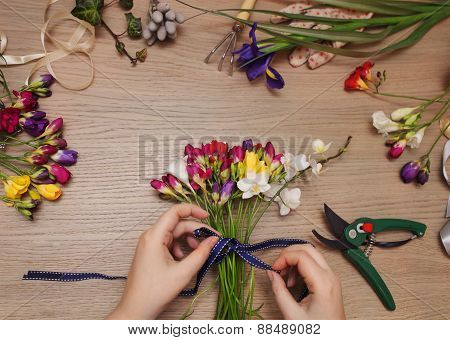 Florist At Work. Woman Making Bouquet