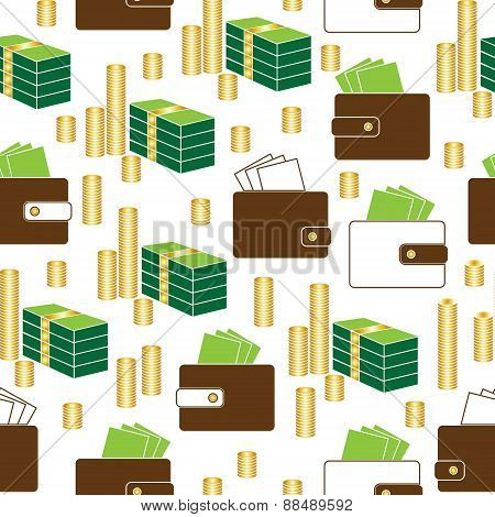 seamless money pattern on white background vector.