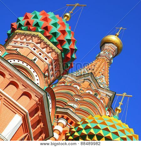 Domes of St. Basil's cathedral on the Red Square in Moscow, Russia