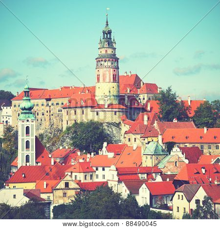 View of Cesky Krumlov. Czechia. Instagram style filtred image
