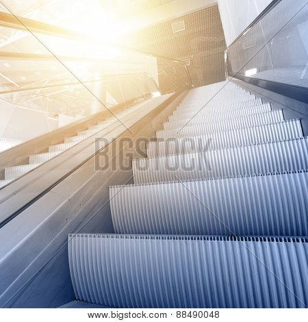 Modern interior with escalator close-up