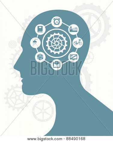 Cog and ideas against silhouette of head