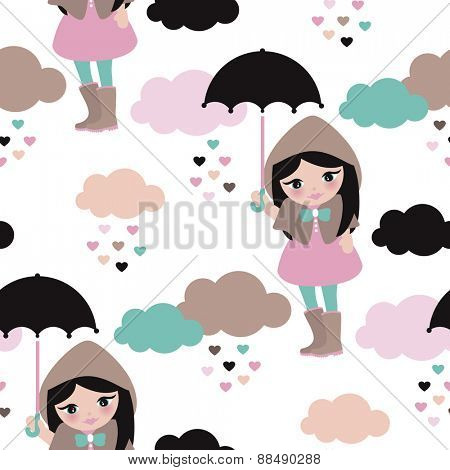 Seamless umbrella rainy day and clouds girl in rain coat and boots kids illustration background pattern in vector