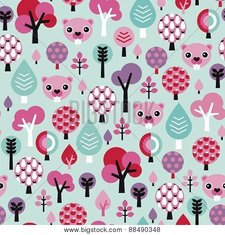 Seamless kids adorable beaver woodland and forest flower theme for girls illustration background pattern in vector