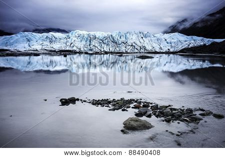 Alaska Glacier Lake - Wide Angle View