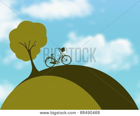 Digitally generated bicycle on hill vector