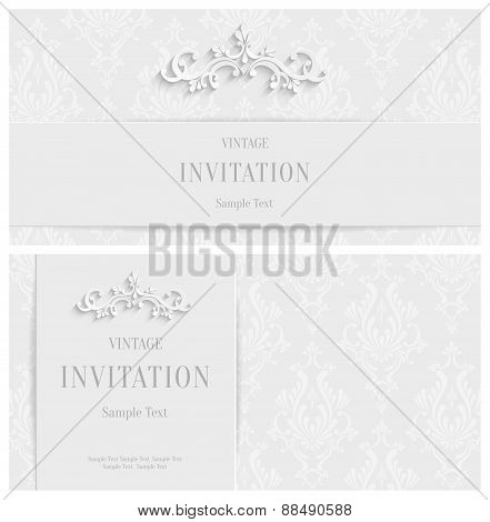 Vector White Floral 3d Background. Template for Christmas and Invitation Cards