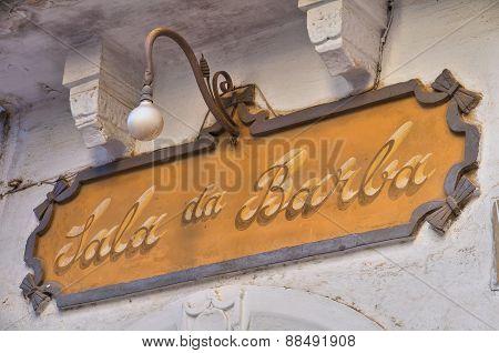 Shop sign. Rutigliano. Puglia. Italy.