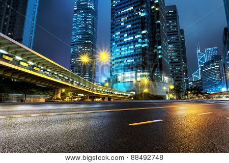 illuminated buildings and urban road