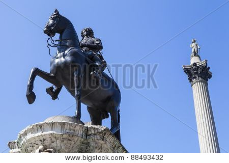 King Charles 1St Statue And Nelsons Column In Trafalgar Square