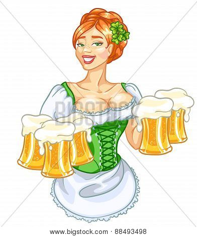 Beautiful Irish girl with beer