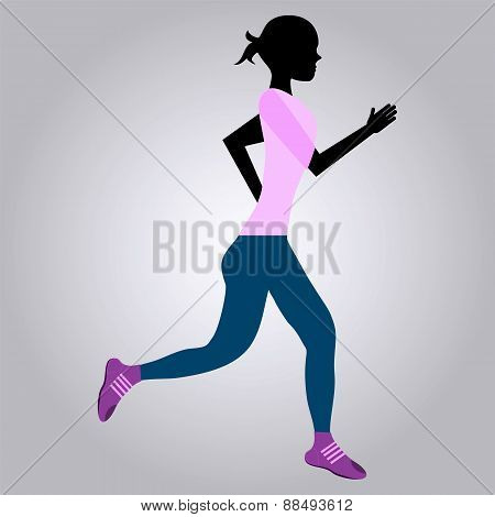 Running Girl. Morning Jog.