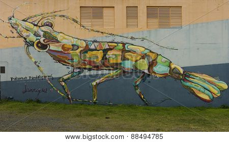 Graffiti Of Giant Multicolor Shrimp Or Insect.