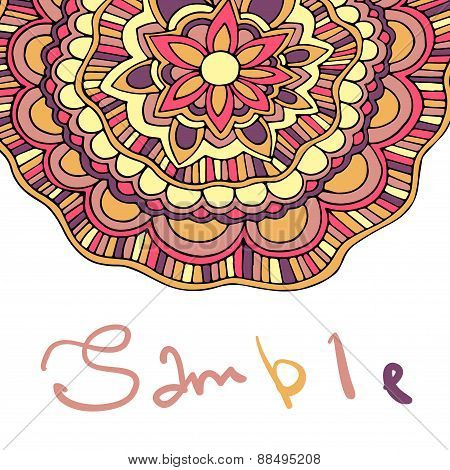 Ethnic ornamental spring boho background with place for text. Vector floral banner with flowers. For