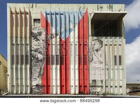 Graffiti Of Children Composing The Puerto Rico Flag.