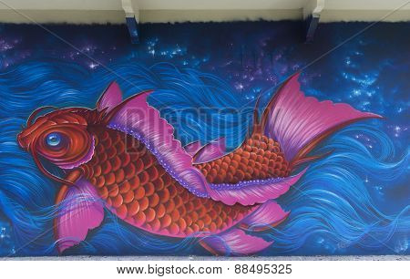 Graffiti Of Pink Fish In Blue Water.