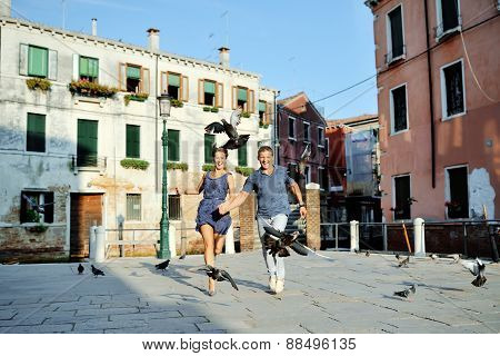 Happy Couple In Venice, Italy