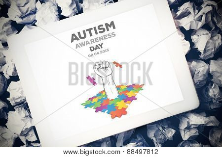 Autism awareness day against tablet pc