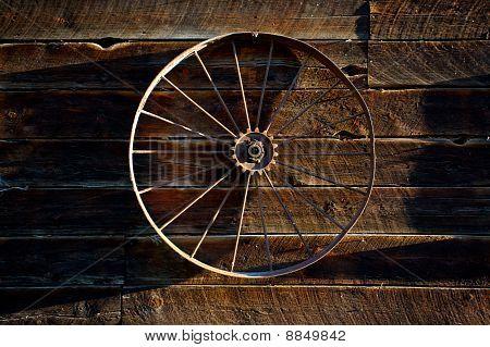 Wagon Wheel On Barn Wall