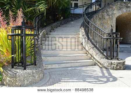 Coral stone stairway