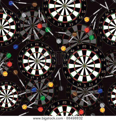 Darts Target and darts vector seamless background.