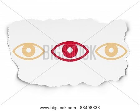 Safety concept: eye icon on Torn Paper background