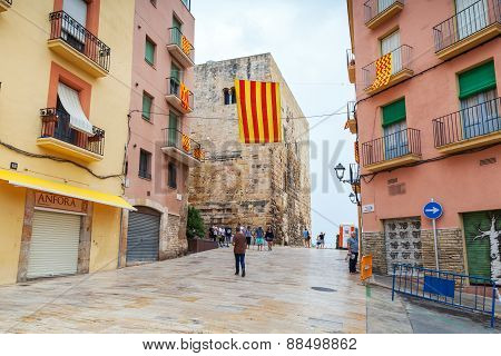 Flags Of Tarragona And Catalonia Over Street