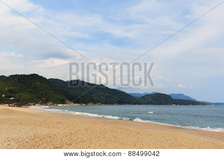 Empty Beach Praia De Fora And Mountains, Trindade, Paraty, Brazil