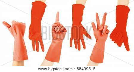Hands in red gloves gesturing numbers isolated on white