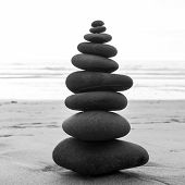 picture of zen  - Zen balanced stones stack close up - JPG
