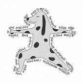 picture of virabhadrasana  - Animal yoga illustration  - JPG