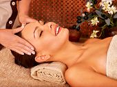 image of beauty parlour  - Woman getting head massage in tropical beauty spa - JPG