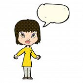 picture of open arms  - cartoon woman with open arms with speech bubble - JPG