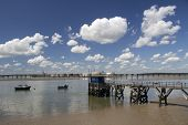 picture of jetties  - Jetty and boats at Holehaven Creek Canvey Island Essex England - JPG