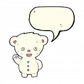 picture of bear-cub  - cartoon waving polar bear cub with speech bubble - JPG