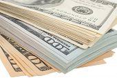 stock photo of american money  - Stack of money american hundred dollar bills - JPG