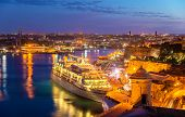 picture of passenger ship  - Cruise liner in the port of Valletta  - JPG