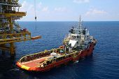 picture of offshore  - Crane operation on offshore construction platform - JPG