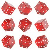 image of dice  - set red glass dice isolated on white background - JPG