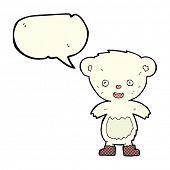 foto of bear-cub  - cartoon polar bear cub with speech bubble - JPG
