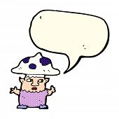 image of fairy-mushroom  - cartoon little mushroom man with speech bubble - JPG