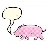 stock photo of hippopotamus  - cartoon hippopotamus with speech bubble - JPG