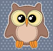 pic of blue animal  - Cute owl label on dotted blue background - JPG