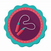 image of skipping rope  - Skipping Rope Flat Icon With Long Shadow - JPG