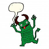 stock photo of demons  - cartoon demon with speech bubble - JPG