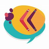 picture of boomerang  - Boomerang Flat Icon With Long Shadow - JPG